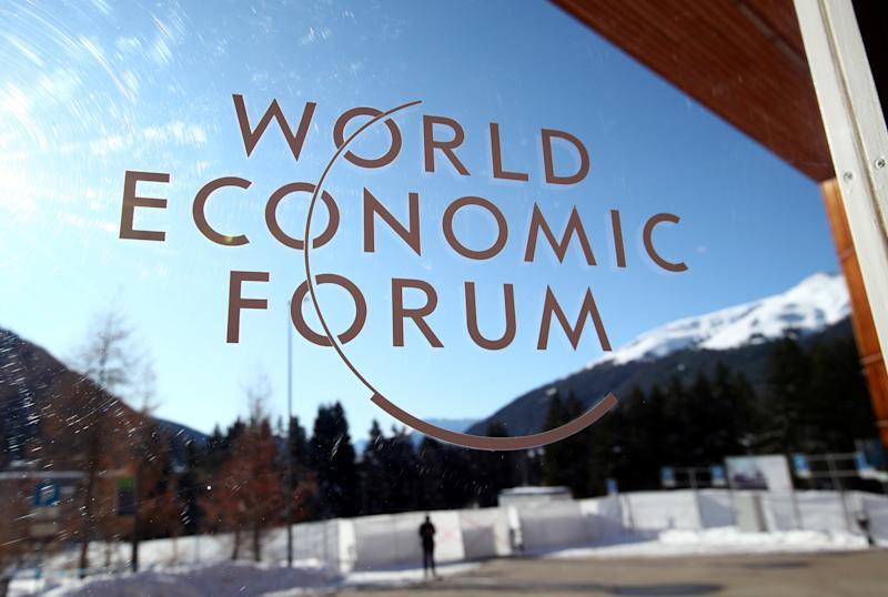 A sign is pictured at the Congress Center ahead of the World Economic Forum (WEF) annual meeting in Davos, Switzerland January 20, 2020. REUTERS/Denis Balibouse