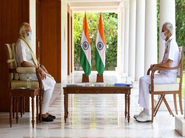 Visual of the meeting between PM Modi and Chief of Naval Staff, Admiral Karambir Singh (Photo/PIB)