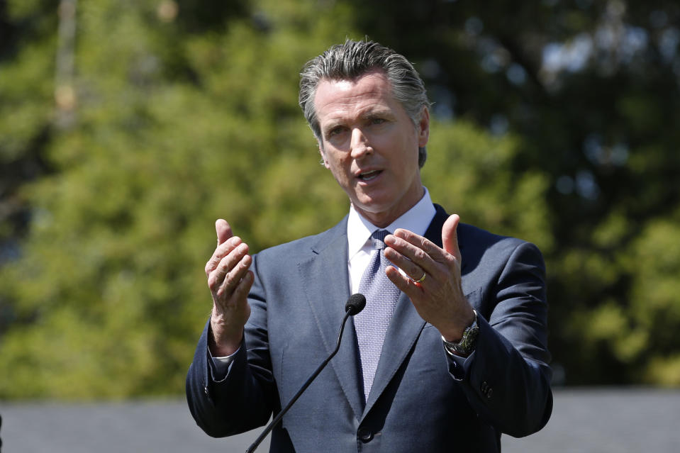 California Gov. Gavin Newsom was less confident than president Donald Trump about the NFL going on as scheduled this fall. (AP Photo/Rich Pedroncelli)