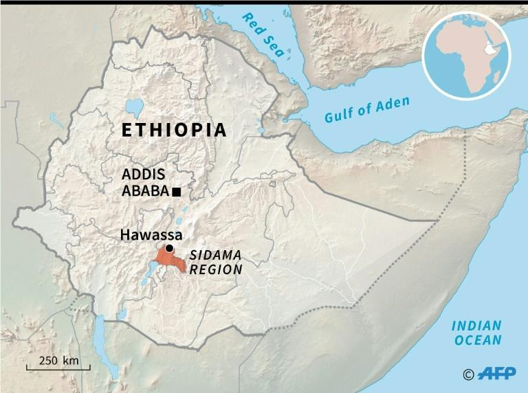 Map locating the city of Hawassa and the Sidama region (AFP Photo/Simon MALFATTO)