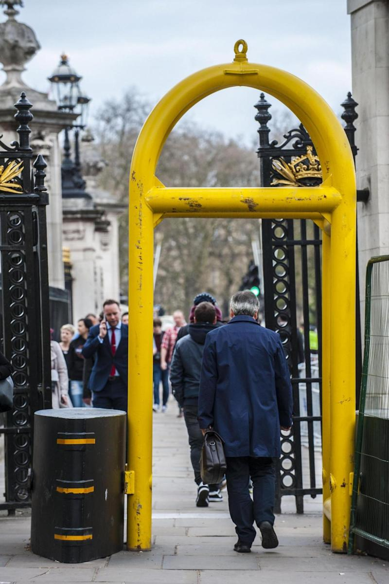 Protection: The barriers have appeared outside Buckingham Palace. (Lucy Young)