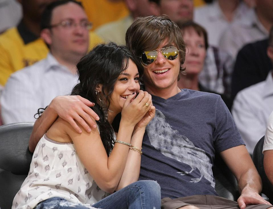 "It was the start of something new. The Disney Channel had a smash hit with <em>High School Musical,</em> and suddenly its stars Vanessa Hudgens and Zac Efron were household names. It only made sense that the romantic leads would start dating. ""Right off the bat, we had a connection, I think everybody could see it,"" Hudgens told <a href=""https://www.glamour.com/story/vanessa-hudgens-grown-up?mbid=synd_yahoo_rss"" rel=""nofollow noopener"" target=""_blank"" data-ylk=""slk:Glamour"" class=""link rapid-noclick-resp""><em>Glamour</em></a> in 2010. ""Now, I guess [we have a mature relationship]. I think that we inspire each other. [I love] having someone to grow with."" Sadly, their cute courtship ended later that year."