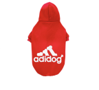 """<p><strong>Fresh Pawz</strong></p><p>target.com</p><p><strong>$8.99</strong></p><p><a href=""""https://www.target.com/p/fresh-pawz-adidog-logo-fleece-dog-and-cat-hoodie-red/-/A-80874678"""" rel=""""nofollow noopener"""" target=""""_blank"""" data-ylk=""""slk:Shop Now"""" class=""""link rapid-noclick-resp"""">Shop Now</a></p><p>Give your dog a sporty look with this hilarious hoodie. For less than $10, your wallet will like it as much as your pup.</p>"""