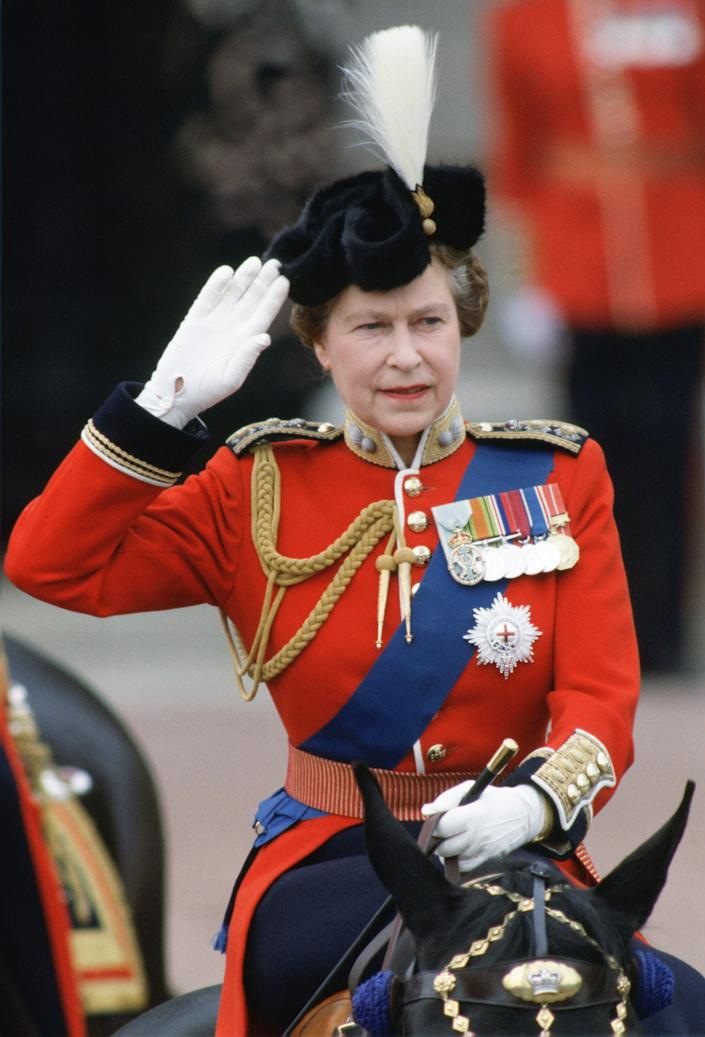 LONDON, UNITED KINGDOM - JUNE 10:  Queen Elizabeth II taking part in Trooping the Colour parade.  (Photo by Tim Graham Photo Library via Getty Images)