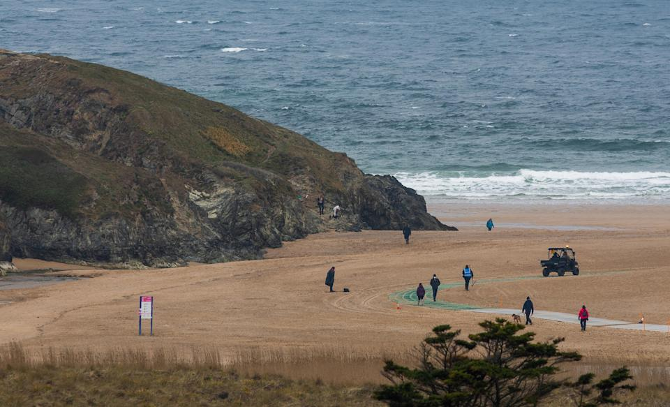 Production has begun on the Game of Thrones prequel, House of the Dragon, at Holywell Bay in Cornwall (SWNS)