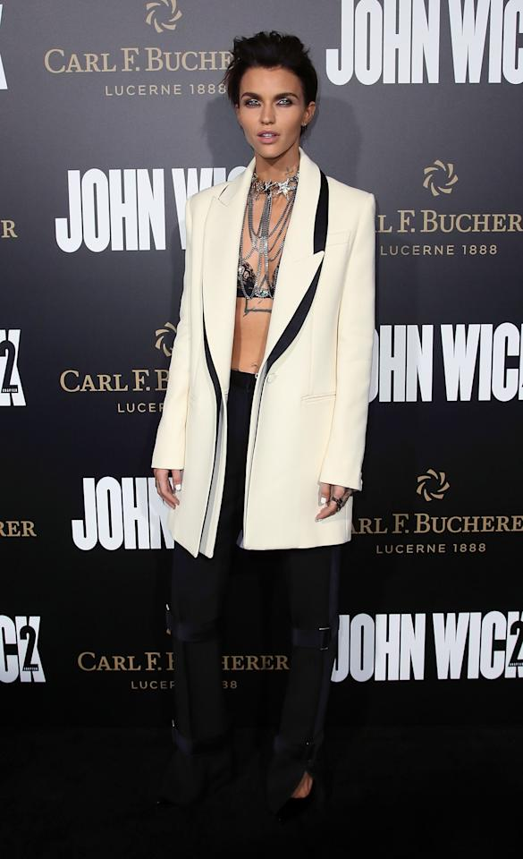 <p>Ruby Rose is the master of working a suit on the red carpet. Plus, she can accessorise it to perfection. [Photo: Getty] </p>