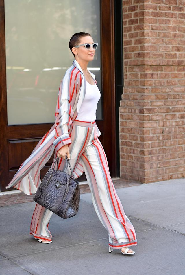 Hudson, caught traipsing through Tribeca, really seems to be feeling her updated look. (Photo: Getty Images)