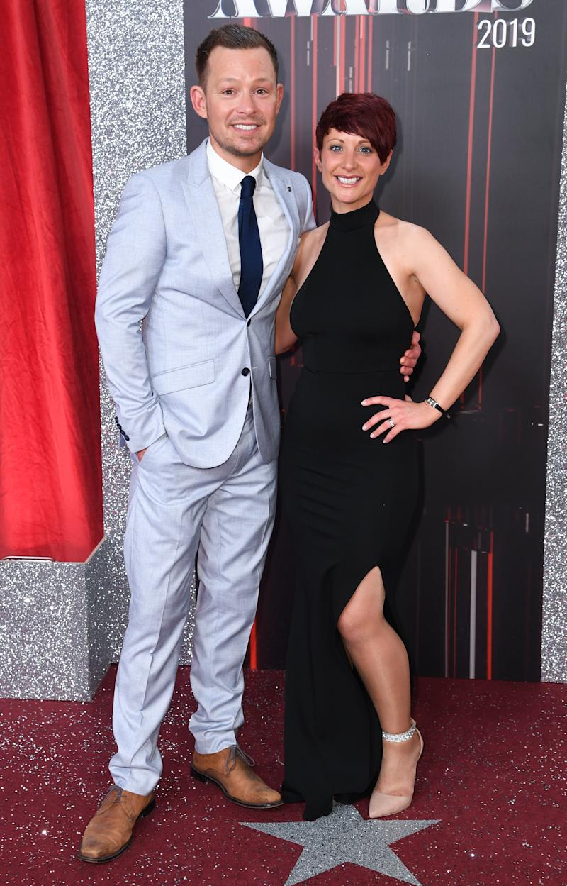 Adam Rickitt and Katy Fawcett attending the British Soap Awards 2019 held at The Lowry, Manchester. Picture credit should read: Doug Peters/EMPICS