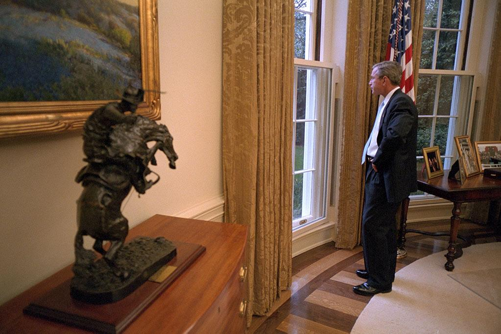 """President Bush looking out the window from the Oval Office as seen on """"George W. Bush:  The 9/11 Interview."""""""