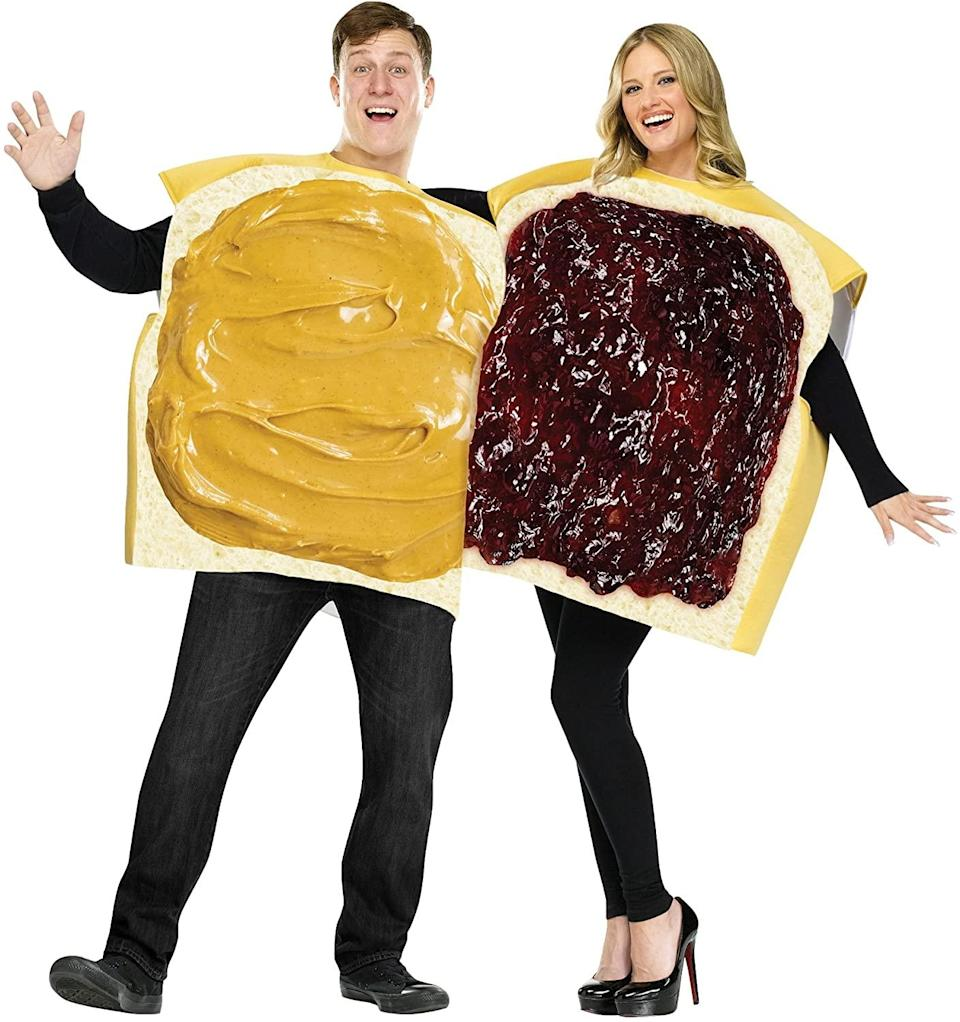 Adult Peanut Butter and Jelly Costume; funny couple's halloween costumes / funny couple's costume ideas