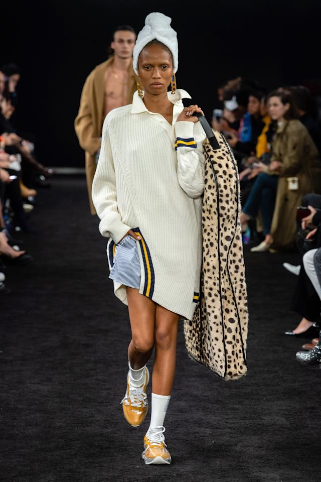 Don't forget that Alexander Wang actually presented his Fall collection back in December. It was a collection chock full of Wang-isms: leather, lace, sport, boxer shorts, prep. Topped off with just out of the shower towel wraps and luxe logo garment bags, it was a fun collection that Wang fans are sure to embrace.