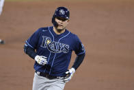 Tampa Bay Rays' Yoshitomo Tsutsugo, of Japan, rounds the bases on his home run during the third inning of a baseball game against the Baltimore Orioles, Saturday, Sept. 19, 2020, in Baltimore. (AP Photo/Nick Wass)