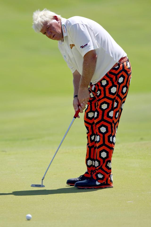John Daly watches his putt on the 13th hole during the first round for the PGA Championship golf tournament on the Ocean Course of the Kiawah Island Golf Resort in Kiawah Island, S.C., Thursday, Aug. 9, 2012. (AP Photo/John Raoux)
