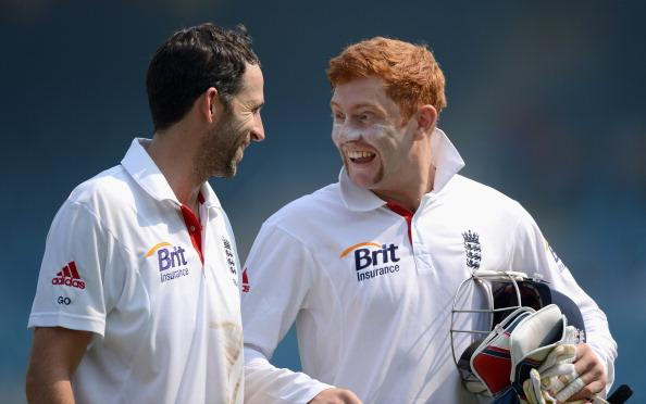 MUMBAI, INDIA - NOVEMBER 05:  Graham Onions and Jonathan Bairstow of England share a joke during day three of the tour match between Mumbai A and England at The Dr D.Y. Palit Sports Stadium on November 5, 2012 in Mumbai, India.  (Photo by Gareth Copley/Getty Images)