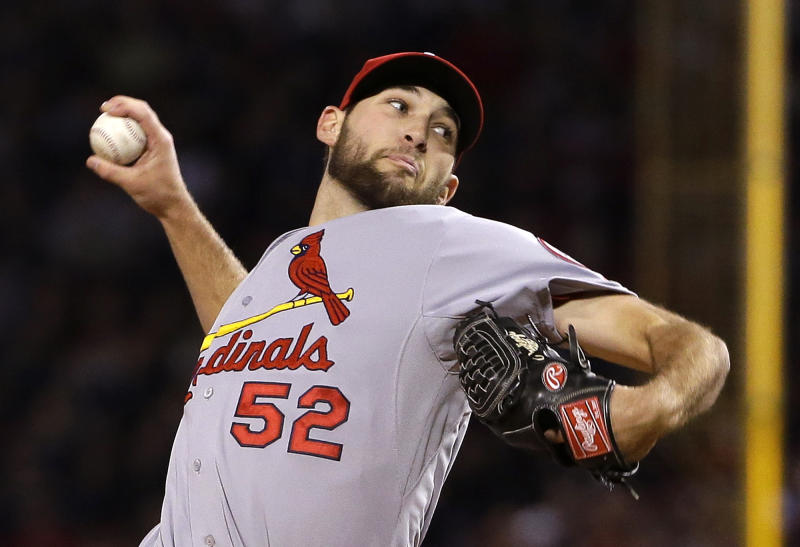 St. Louis Cardinals starting pitcher Michael Wacha throws during the first inning of Game 2 of baseball's World Series against the Boston Red Sox Thursday, Oct. 24, 2013, in Boston. (AP Photo/Matt Slocum)