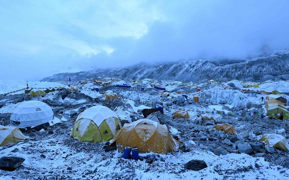 Expedition tents at Everest Base Camp on May 1, in the Mt Everest region of Solukhumbu district, some 140km north-east of Nepal's capital Kathmandu - PRAKASH MATHEMA/AFP