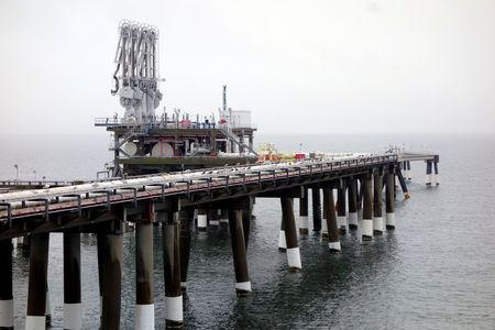 FILE PHOTO: Pier at Dominion's Cove Point LNG plant is seen at Maryland's Chesapeake Bay