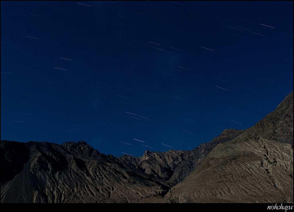 Star trails over the Nubra Valley.