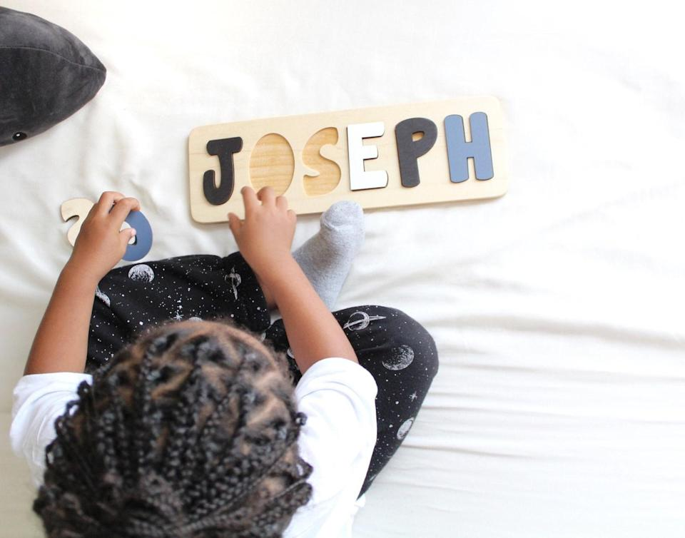 wooden name puzzle, etsy