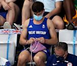 """<p>When he wasn't winning gold, Daley was on the sidelines pursuing his other passion: <a href=""""https://people.com/sports/tokyo-olympics-tom-daley-spotted-knitting-during-diving-final/"""" rel=""""nofollow noopener"""" target=""""_blank"""" data-ylk=""""slk:knitting"""" class=""""link rapid-noclick-resp"""">knitting</a>. You know what they say about idle hands and all that. It looks like the hobby kept the Olympian from getting [seam]stressed! </p>"""