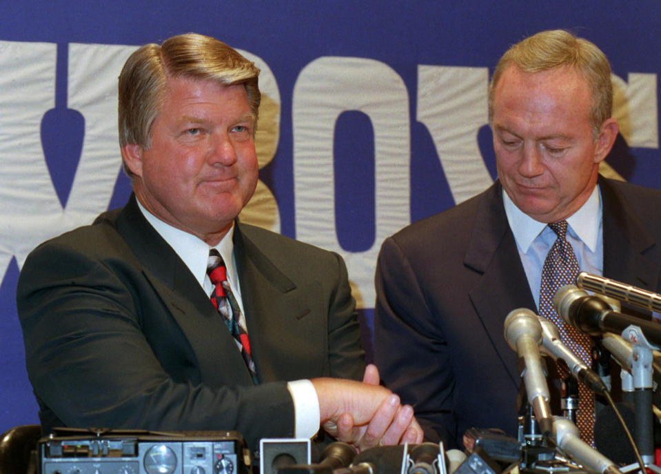 According to Jerry Jones, if it's good enough for Tom Landry, it's good enough for Jimmy Johnson. (AP Photo/Ron Heflin, File)
