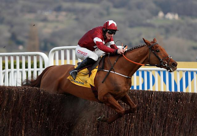 Horse Racing - Cheltenham Festival - Cheltenham Racecourse, Cheltenham, Britain - March 15, 2018 Balko Des Flos ridden by Davy Russell before winning the 14:50 Ryanair Chase Action Images via Reuters/Matthew Childs