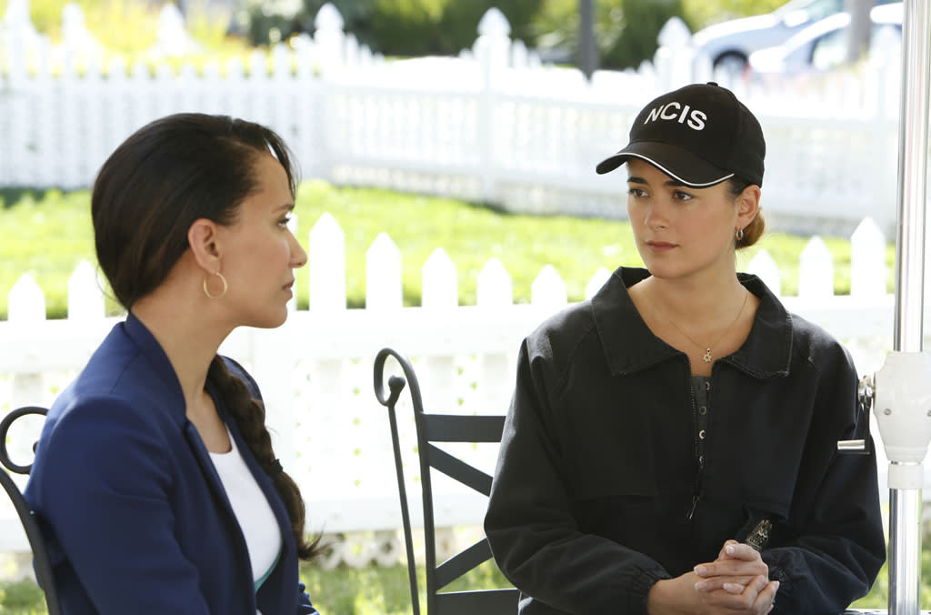 """Chasing Ghosts"" -- When a Navy reservist returns home to find her husband missing and her living room covered in blood, she turns to the NCIS team to bring him home. Meanwhile, Tony suspects that Ziva (Cote de Pablo, right) is planning a risky move to avenge her father's death."