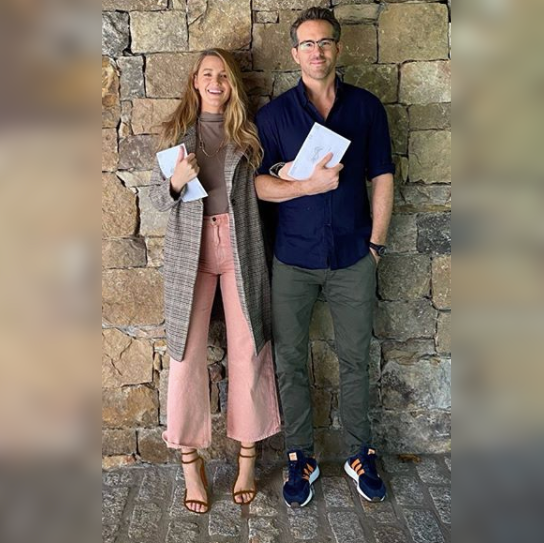 Blake Lively and Ryan Reynolds pose with their US election postal votes