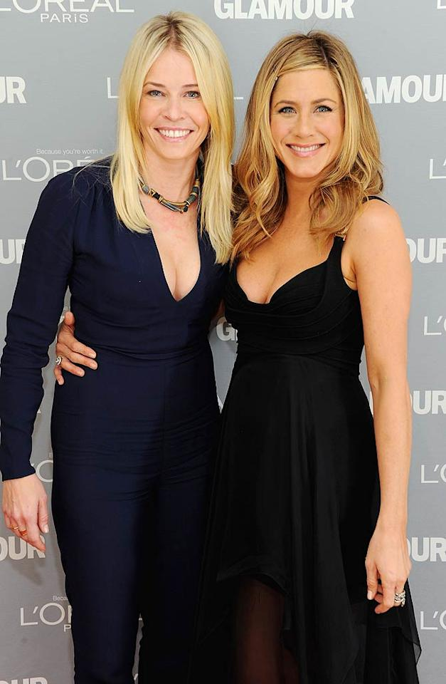 """Late-night host Chelsea Handler got all glammed up, along with pal Jennifer Aniston, for the 2011 Glamour Women of the Year Awards on Monday. Chelsea was given """"The Queen of the Night"""" award. (11/7/2011)"""