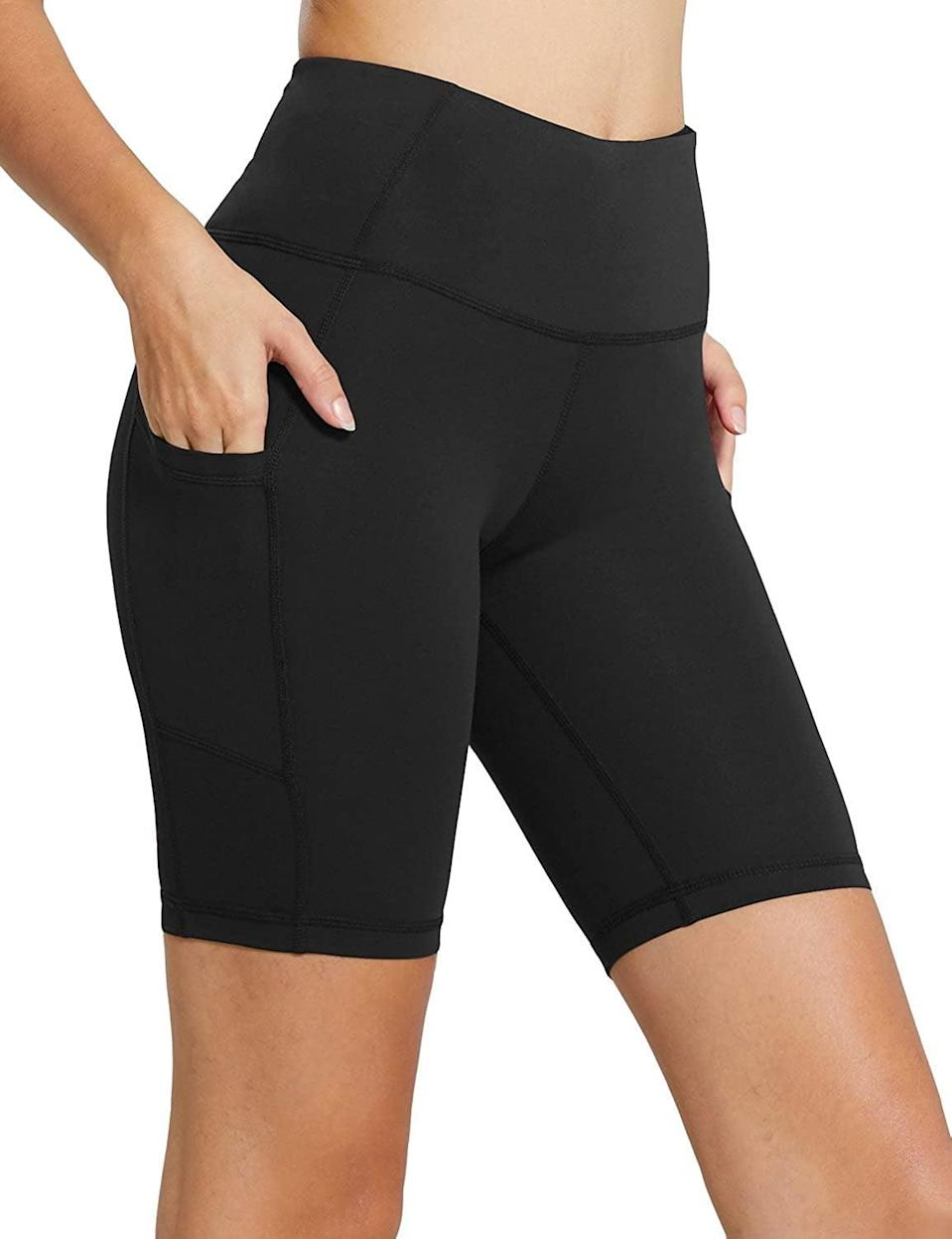 <p>You can easily store your phone and headphones in these <span>Baleaf High Waist Workout Shorts</span> ($20, originally $22).</p>