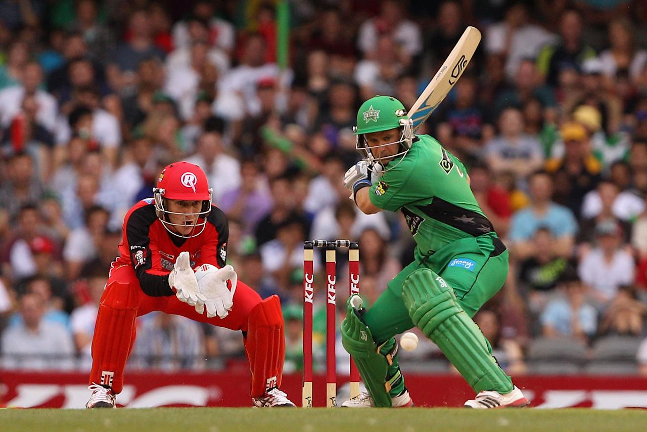 MELBOURNE, AUSTRALIA - DECEMBER 07:  Brad Hodge of the stars plays a shot during the Big Bash League match between the Melbourne Renegades and the Melbourne Stars at Etihad Stadium on December 7, 2012 in Melbourne, Australia.  (Photo by Robert Prezioso/Getty Images)
