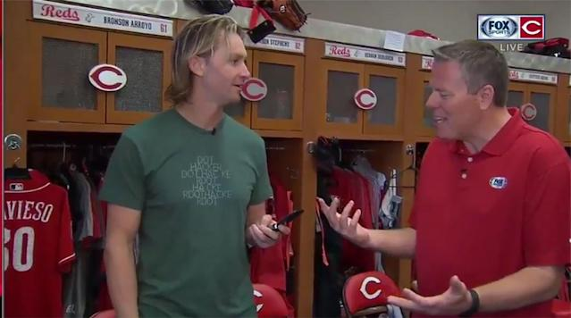 Cincinnati Reds pitcher Bronson Arroyo is not only the last active member of the 2004 Boston Red Sox but he's one of the last professional athletes with a flip phone.
