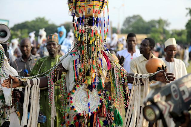 <p>A man dressed in traditional regalia attends the Durbar festival, on the second day of Eid al-Adha celebration, in Nigeria's northern city of Kano, Sept. 2, 2017. (Photo: Akintunde Akinleye/Reuters) </p>