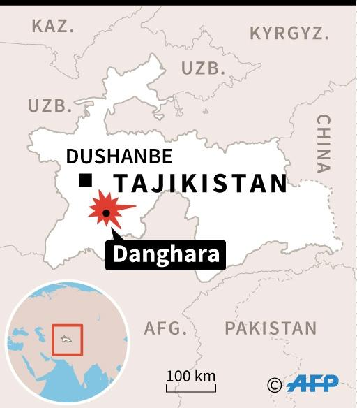 Map locating Danghara in Tajikistan where four tourists were attacked and killed, according to police