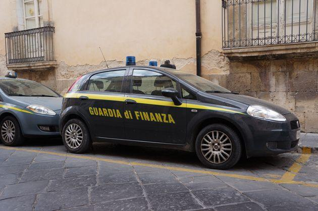 Noto, Italy. April 2017. A parked Patrol car from the Italian financial police, or Guardia di Finanza, parked on the street.