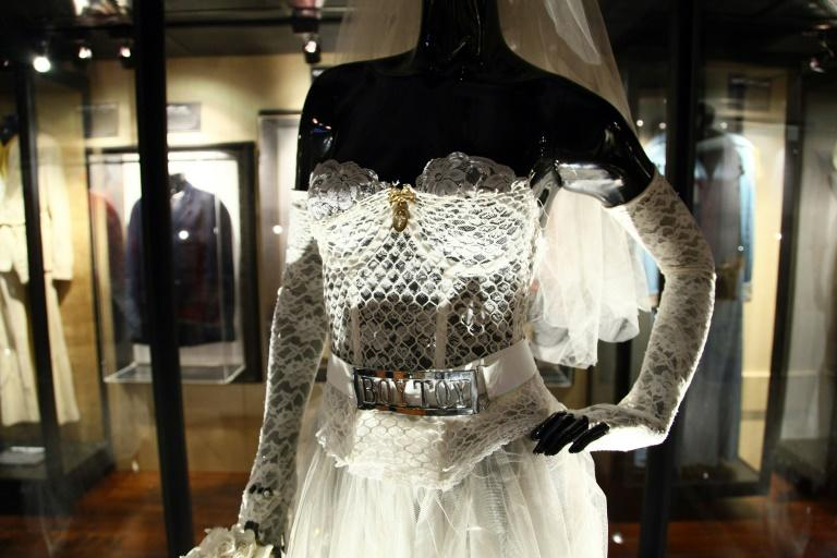 "Madonna's wedding dress worn in the music video for ""Like a Virgin"" on display at Hard Rock Cafe's 40th anniversary Memorabilia Tour in New York City"