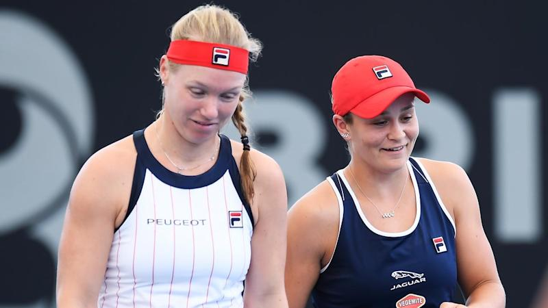 Ashleigh Barty and Kiki Bertens contest the doubles final at the Brisbane International on Sunday