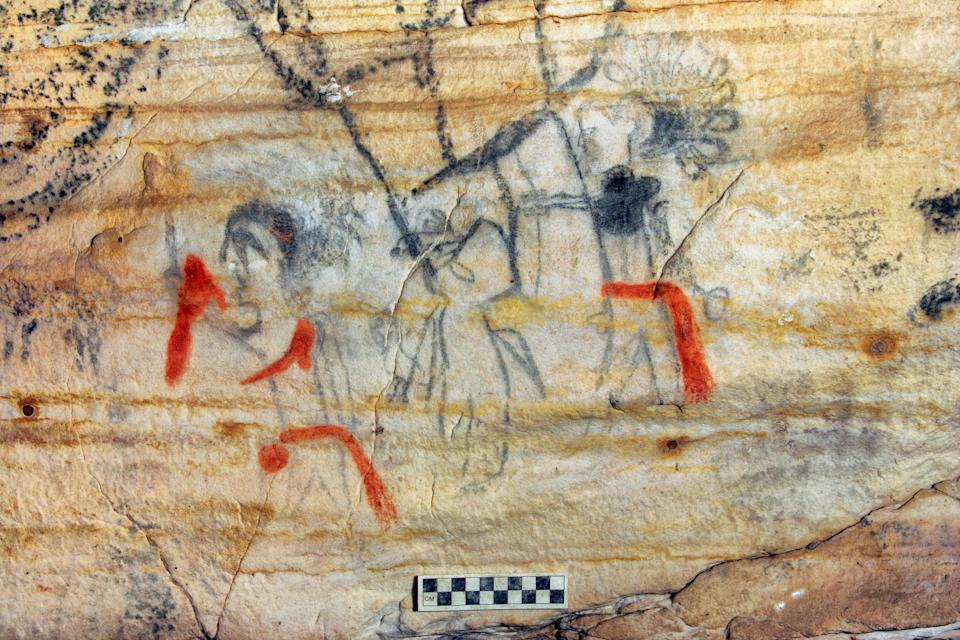 This undated photo provided by Alan Cressler shows a Missouri cave featuring artwork from the Osage Nation more than 1,000 years old  (AP)