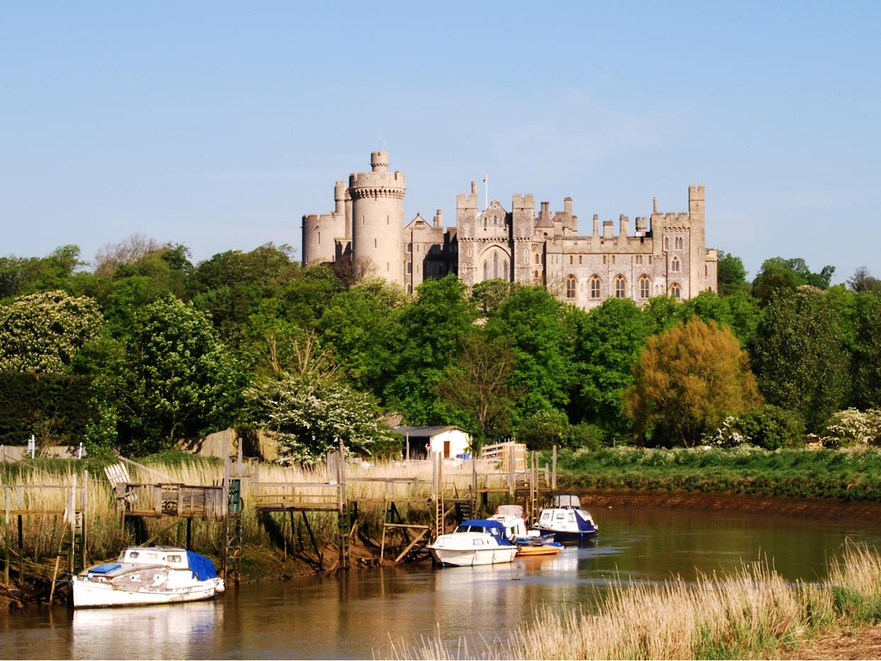 Arundel. West Sussex. England. Showing castle and river