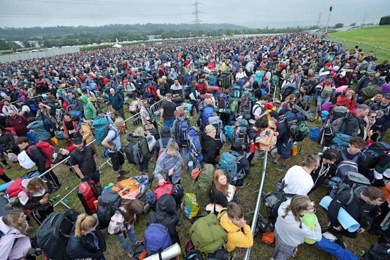 Tens of thousands of people were descending on the Glastonbury festival site today (PA)
