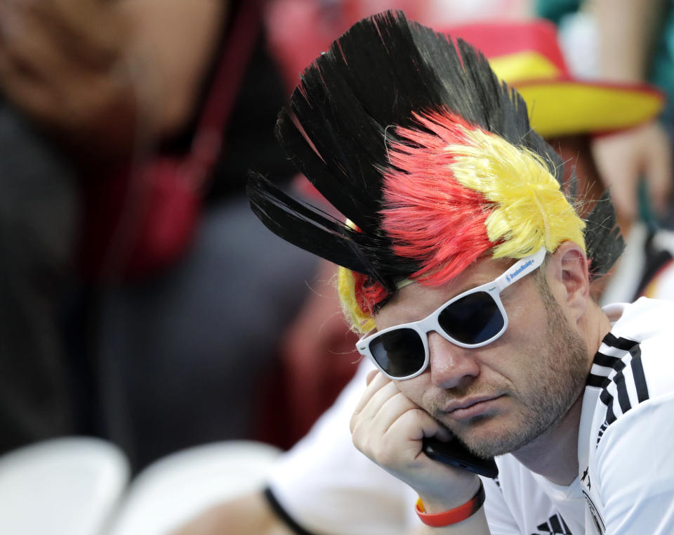 <p>A Germany's fan sits in the stands after the group F match between South Korea and Germany, at the 2018 soccer World Cup in the Kazan Arena in Kazan, Russia, Wednesday, June 27, 2018. (AP Photo/Lee Jin-man) </p>