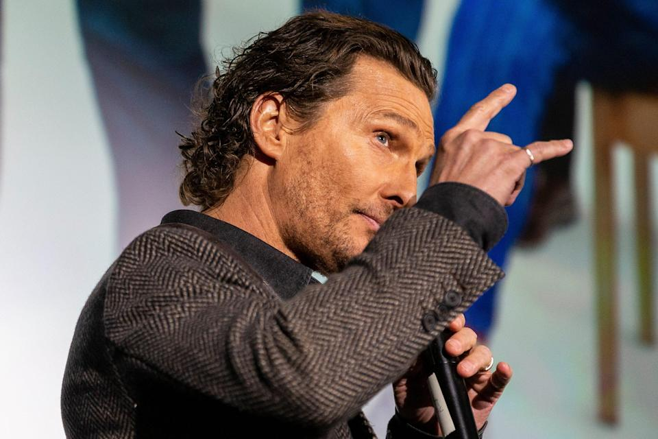 Actor Matthew McConaughey presents his new film ?The Gentlemen? during a special screening for students and athletes inside the Hogg Memorial Auditorium on the University of Texas campus, Tuesday, Jan., 21, 2020.