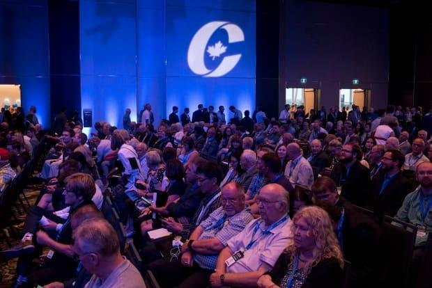Supporters attend the opening ceremony of the Conservative national convention in Halifax on Thursday, August 23, 2018. (Darren Calabrese / Canadian Press - image credit)