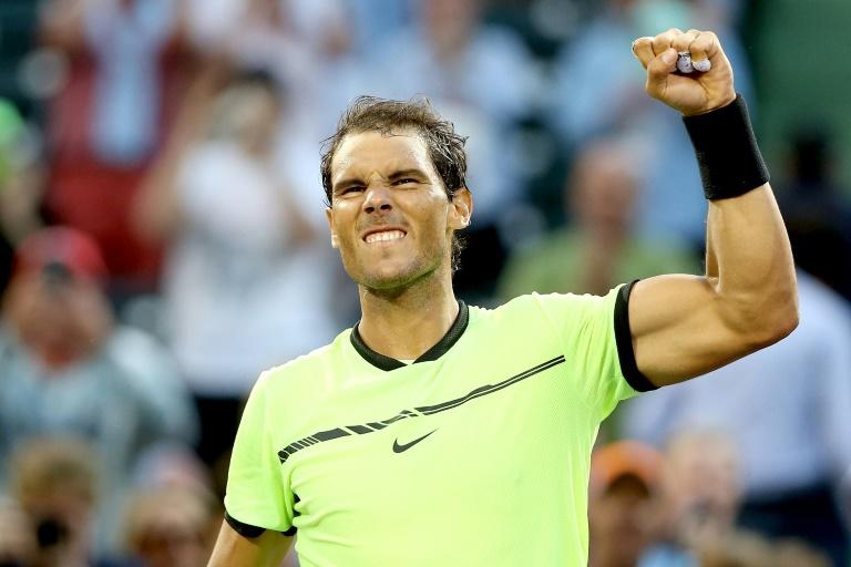 Rafael Nadal of Spain celebrates his win over Dudi Sela of Israel during the Miami Open at the Crandon Park Tennis Center on March 24, 2017