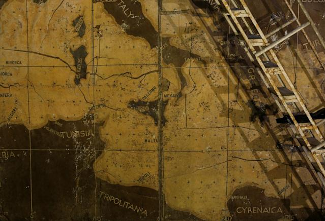 <p>Part of a map showing the central Mediterranean is seen in the map room at the Combined Operations Centre, dating back to World War II, in the War Headquarters tunnels beneath Valletta, Malta, March 24, 2017. (Photo: Darrin Zammit Lupi/Reuters) </p>