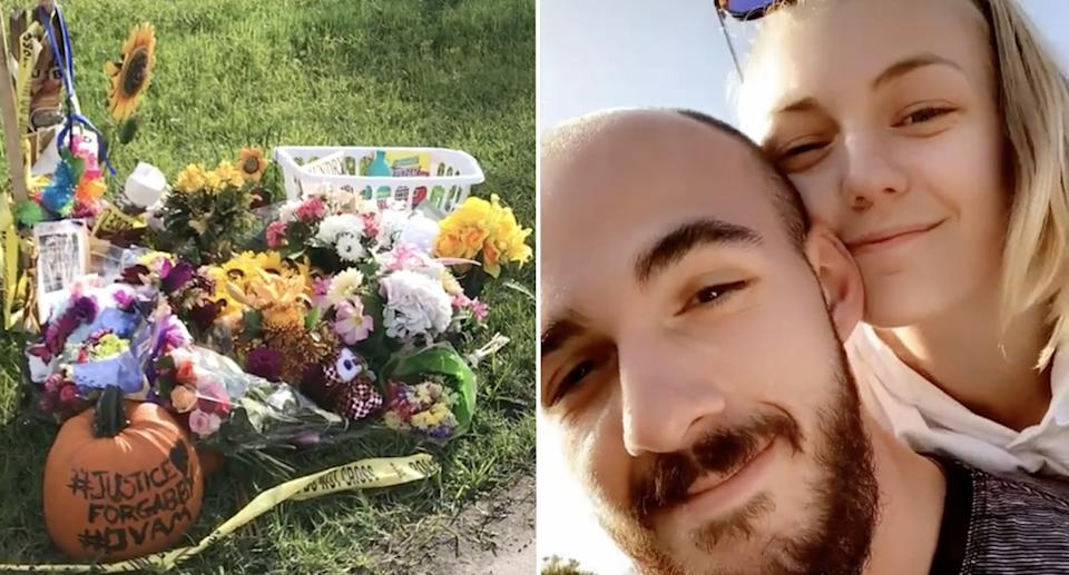 The laundry basket at a memorial and Gabby Petitio with Brian Laundrie.