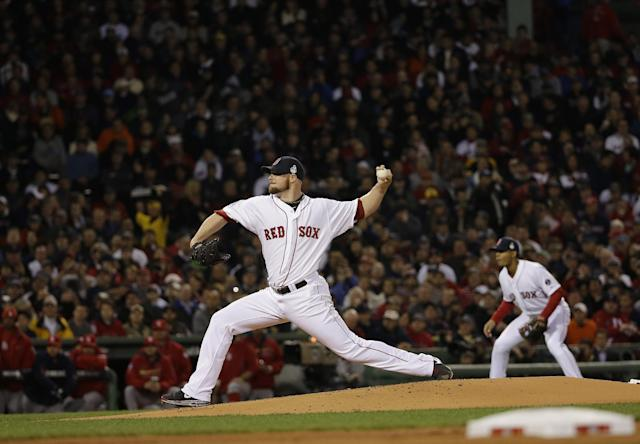 Boston Red Sox starting pitcher Jon Lester throws during the first inning of Game 1 of baseball's World Series against the St. Louis Cardinals Wednesday, Oct. 23, 2013, in Boston. (AP Photo/David J. Phillip)