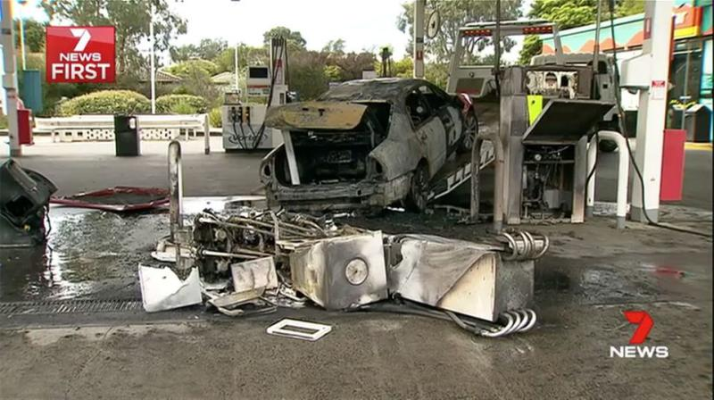 The driver accidentally reversed into a petrol bowser. Source: 7 News