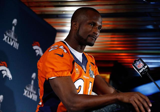 JERSEY CITY, NJ - JANUARY 29: Champ Bailey #24 of the Denver Broncos speaks to the media during an availability January 29, 2014 in Jersey City, New Jersey. The Denver Broncos and Seattle Seahawks will meet at Super Bowl XLVIII at Metlife Stadium on February 2, 2014. (Photo by Jeff Zelevansky/Getty Images)