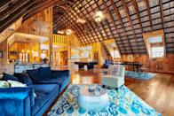"""<p>airbnb.com</p><p><strong>$264.00</strong></p><p><a href=""""https://www.airbnb.com/rooms/41981884"""" rel=""""nofollow noopener"""" target=""""_blank"""" data-ylk=""""slk:BOOK NOW"""" class=""""link rapid-noclick-resp"""">BOOK NOW</a></p><p>A sprawling 2,500 ft. of vaulted barn space help this Airbnb fit six guests. A game room and fire pit are located on the 16 acre property perfect for city dwellers eager to escape. </p>"""
